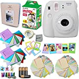Fujifilm Instax Mini 9 Instant Camera (Smokey White) + Accessory Kit, Includes: INSTAX Mini Instant Film (20 pack) + 120 Assorted Sticker, Plastic & Paper Frames + Photo Album + 4 AA Batteries + MORE