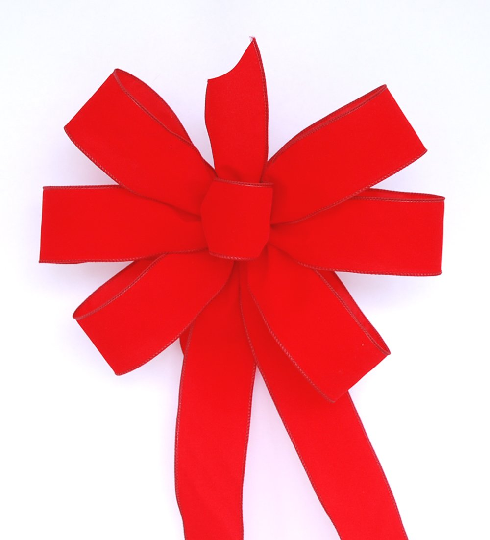 Wired Traditional Red Handmade Velvet Christmas Bow - Approximately 12'' - Case of 16 Bows