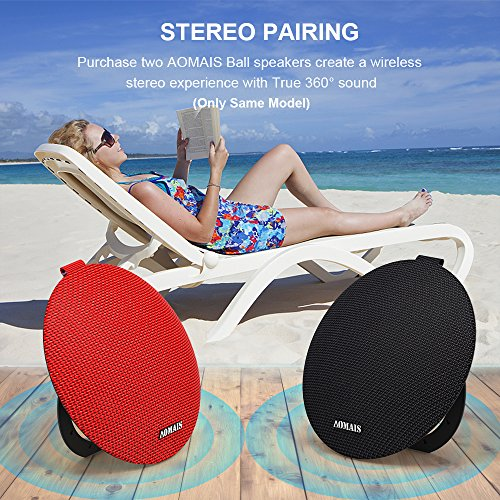 AOMAIS Ball Bluetooth Speakers,Wireless Portable Bluetooth 4.2 ,15W Superior Sound with DSP,Stereo Pairing for Surround Sound,Waterproof Rating IPX7,For Sports,Travel,Shower,Beach,Party(Black)
