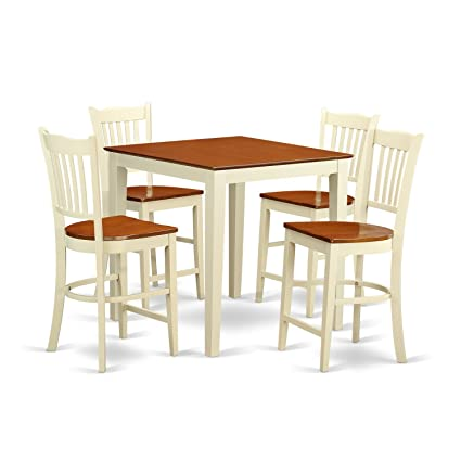 Amazoncom East West Furniture Vngr5 Whi W 5 Piece Pub Table And 4