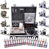 AW Professional Complete Tattoo Kit 8 Machine 40 Ink Gun Power Supply Grip Tip Foot Switch Set