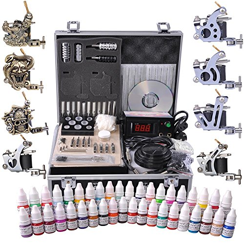 AW Professional Complete Tattoo Kit 8 Machine 40 Ink Gun Power Supply Grip Tip Foot Switch Set by AW