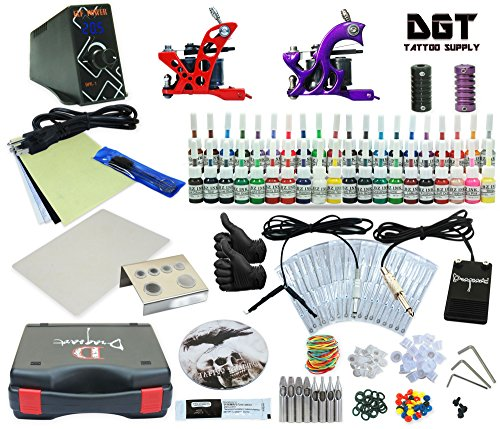 (Complete Tattoo Kit 2 Machines Power Supply 40 colors ink)