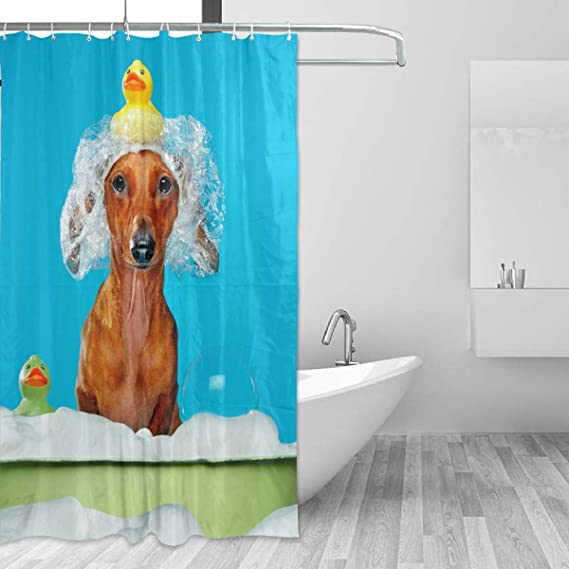 Dachshund Graffiti Letters Flower Butterfly Waterproof Fabric Shower Curtain Set