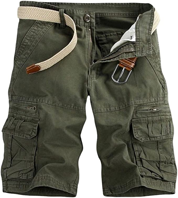 Mens Camouflage Shorts,Mens Casual Pure Color Outdoors Pocket Beach Work Trouser Cargo Shorts Pant