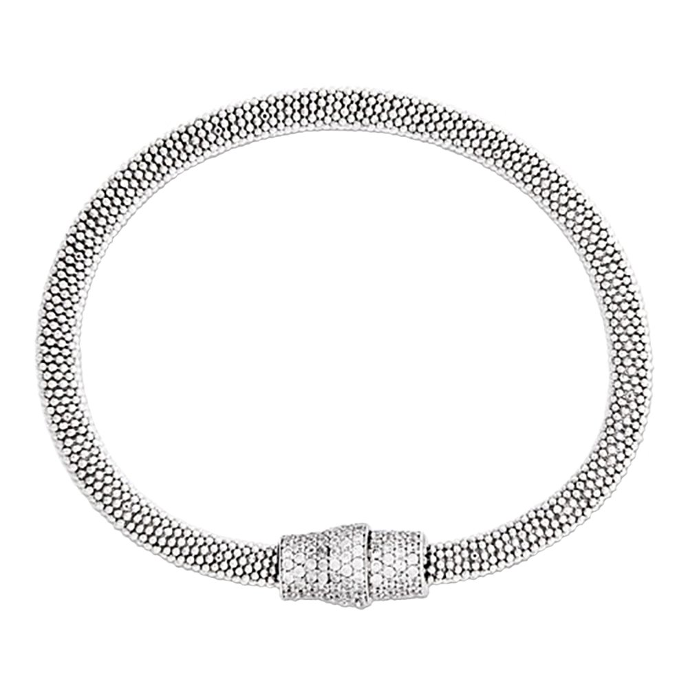 Designs by Nathan Sterling Silver Mesh Magnetic Clasp Bracelet, in Several Colors (Rhodium Plated Silver, Medium Size)