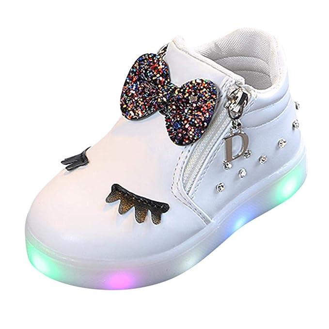 Zapatos de bebé, ASHOP Niña Moda Casuales Zapatillas del Otoño Invierno Deporte Antideslizante del Zapatos Crystal Bowknot LED Botas Luminosas 0-6 Años: ...