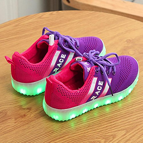 JIANGFU Kinder können [leichte Schuhe] Rennen aufladen, Kleinkind Baby Chargable Turnschuhe Sport Leuchtendes Kind Bunte Leuchten Schuhe Lila