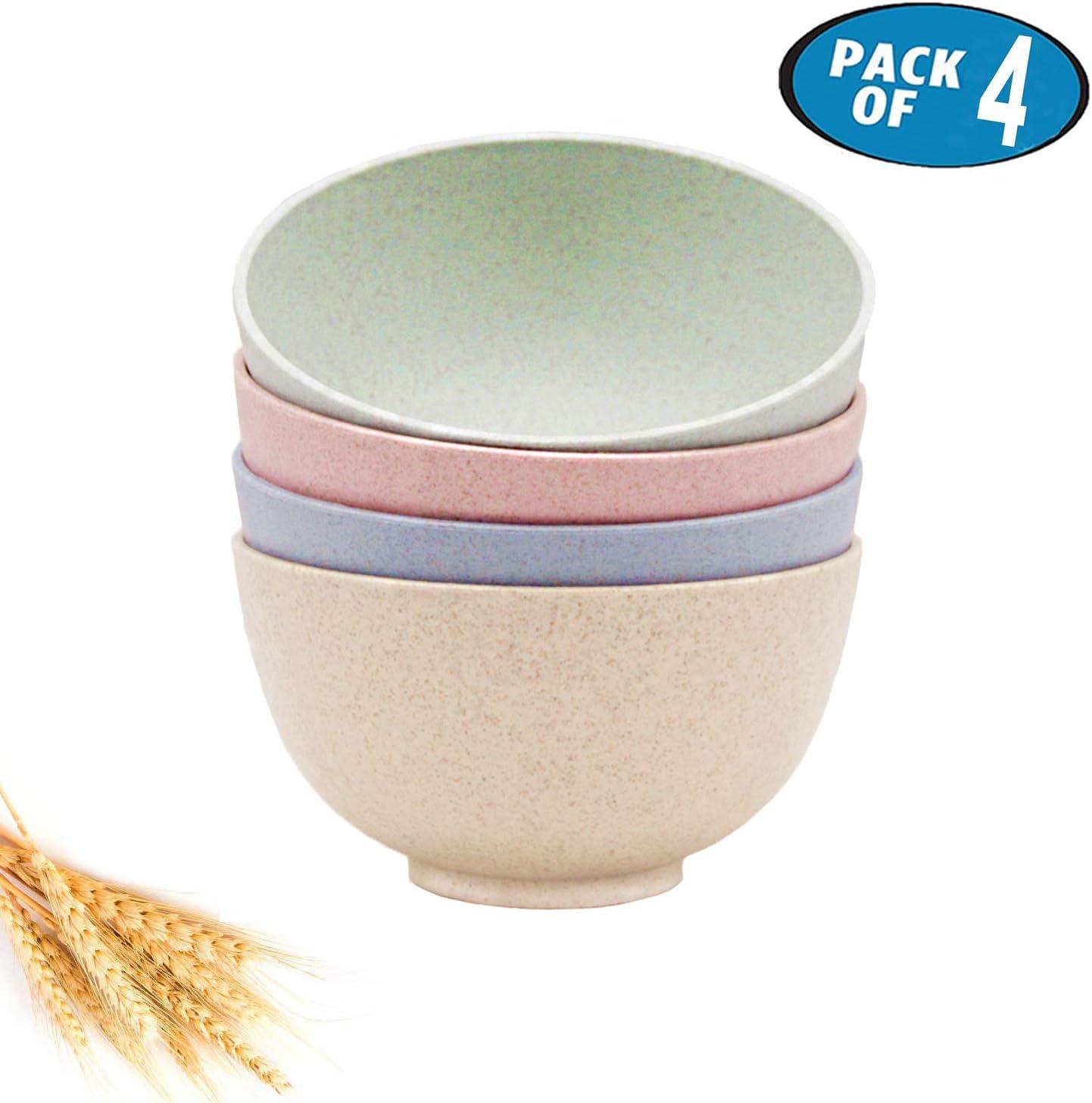 4 Pcs Unbreakable Cereal Bowls Set, Dishwasher & Microwave Safe, 24 OZ Wheat Straw Fiber Lightweight Bowl for Cereal, Salad, Soup, Noodle