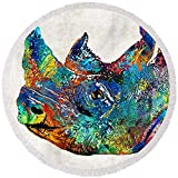 Pixels Round Beach Towel With Tassels featuring ''Rhino Rhinoceros Art - Looking Up - By Sharon Cummings'' by Sharon Cummings