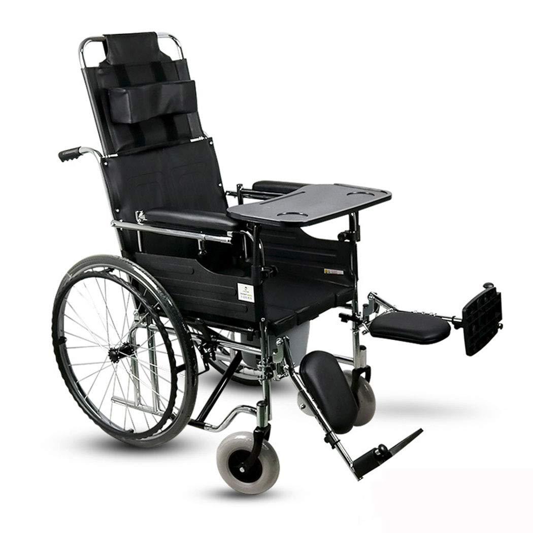 【期間限定!最安値挑戦】 HSBAIS ドライブメディカルトランスポート車いす軽量折りたたみダイニングテーブル、丈夫で丈夫なスチールパイプがレッグレストに乗ります,black 19\_19