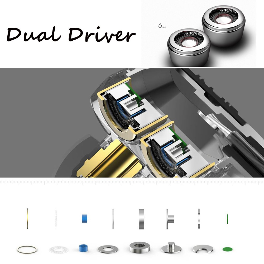 Dual Driver Earbuds with High Definition Sound; Wired Earphones with Tri-Band Sound System for Powerful Bass and High Frequencies; Noise Can-celling;Microphone & Control