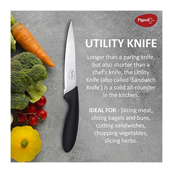 Pigeon by Stovekraft Stainless Steel Kitchen Knives Set, 3-Pieces, Multicolour 5