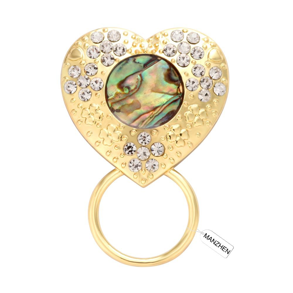 MANZHEN Gold Heart Crystals Abalone Shell Magnetic Badge Eyeglass Holder Brooch for Shirt