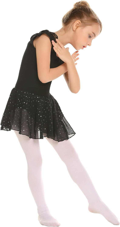 Zaclotre Girls Ruffle Sleeve Sparkle Dance Dress Hollow Back Ballet Skirted Leotard