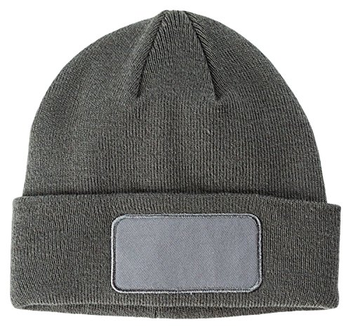 Big Accessories Unisex-Adult Patch Beanie Ba527 -Grey -Os BA527