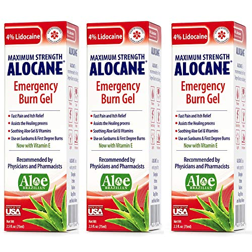 Alocane® Emergency Burn Gel 3 Pack, 4% Lidocaine Max Strength Fast Pain Itch Relief for Minor Burns, Sunburn, Kitchen, Radiation, Chemical, First Degree Burns, First Aid Treatment Burn Care 2.5 Fl Oz - Lidocaine Burn Relief