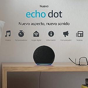 Nuevo Echo Dot (4.ª generación) | Altavoz inteligente con Alexa | Antracita