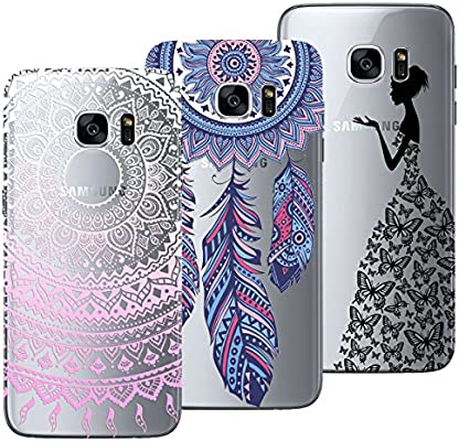 Yokata Funda para Samsung Galaxy S7, [3 Packs] Carcasa Transparente Ultra Suave Silicona TPU Case con Dibujo Anti-Arañazos Caso Cover - Mandala + ...