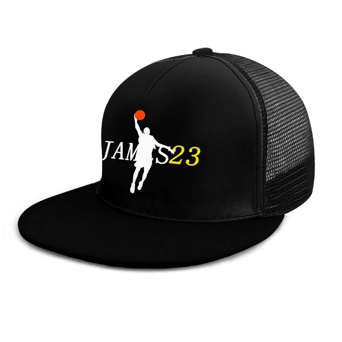NNBAi Unisex Adjustable Flat Mesh Lebron-James Basketball Baseball Cap Black