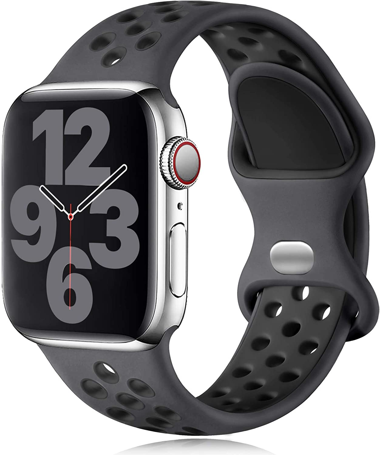 Vcegari Sports Band Compatible with Apple Watch 42mm 44mm, Soft Breathable Silicone Strap for iWatch SE Series 6 5 4 3 2 1, Charcoal/Black M/L