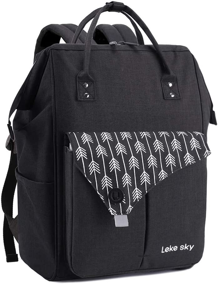 Lekesky Laptop Backpack 15.6 Inch Stylish Computer Backpack Work Travel Backpack for Women and Men, Black