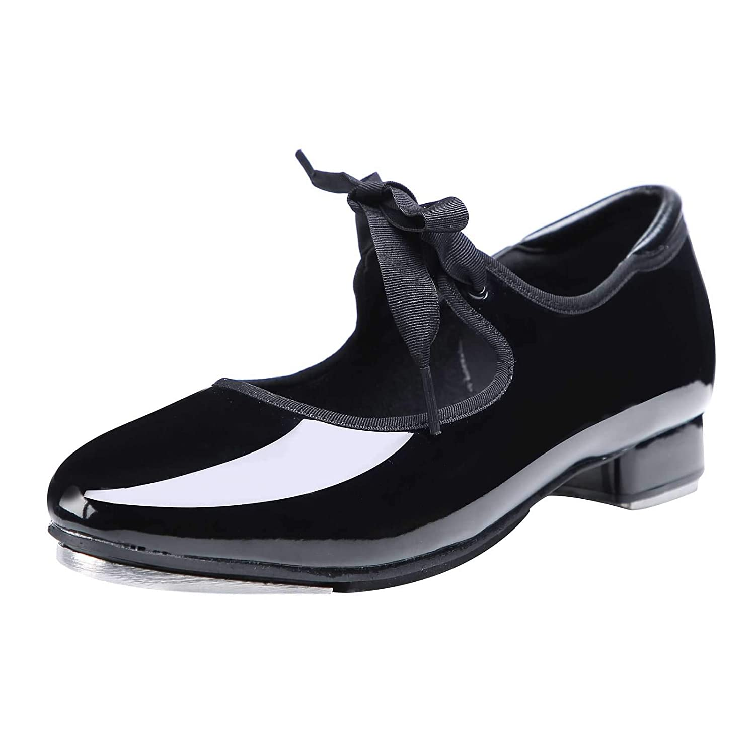 Toddler//Little Kid//Big Kid -Black-13.5M-Little Kid Linodes Leather//Patent Tap Shoe for Girls and Boys