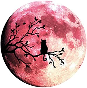 Glow in The Dark Wall or Ceiling Moon Stickers – Luminous Decal Sticker for Simulated Planet Effect at Night – Red 3D Earth Black Tree Cat