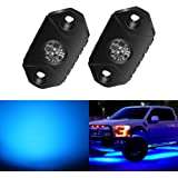 4WDKING Blue LED Rock Lights, 2 Pods IP68 Waterproof Underbody Glow Trail Rig Lamp LED Neon Lights for Truck Jeep Off…