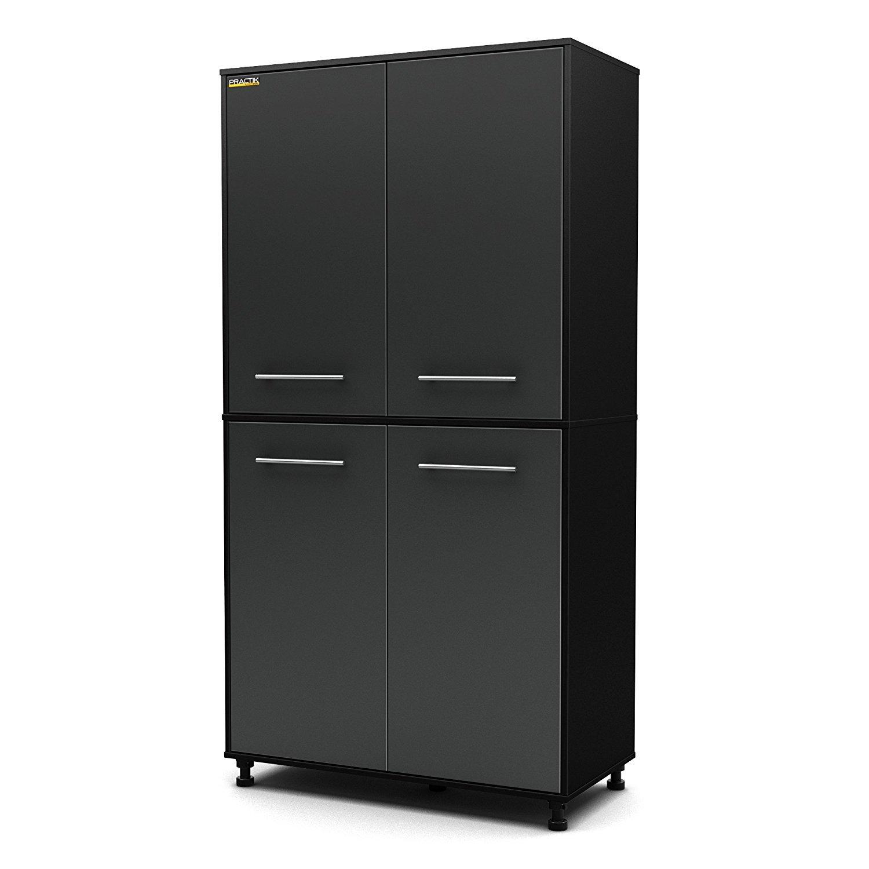 Heavy Duty Best Selling Full Size Garage Basement Black Laminate Wood Four Door Wall Storage Cabinet- Adjustable Shelving- Plastic Legs For Un-Even Floors- Scratch Resistant Durable 50 LB Shelf Weight