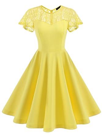 IVNIS Damen Spitze Vintage Kleid 50er Rockabilly A-Linie Kurzarm ...