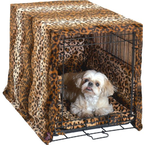 Complete 3 Pc Dog Crate Bedding Set includes Crate Pad, Crate Cover and Bumper - Leopard-Large 36' by Pet Dreams
