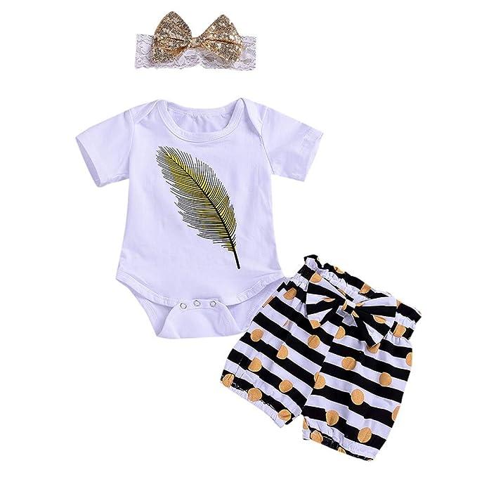 2f1f87569344 Amazon.com  Sameno Fashion Toddler Baby Short Sleeve Feather Romper+ ...