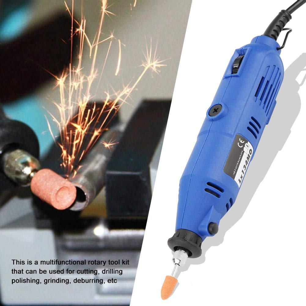EU-Stecker Akozon Mini Amoladoras Rectas El/éctricas Molienda y Pulido Velocidad Ajustable Amoladora de Perforaci/ón 130W 3000-8000rpm Tama/ño del collar 3.2 mm Azul
