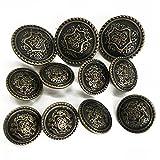 Grekywin Vintage Metal Brass High-Grade Buttons, Exotic Customs Style (Bronze)