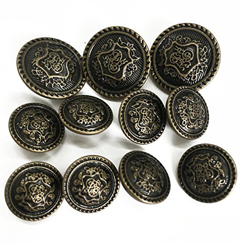 Grekywin Vintage Metal Brass High-Grade Buttons, Exotic Customs Style (Bronze)