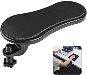SUNNY HEART Computer Adjustable Arm Rest for Desk, Ergonomic Wrist Rest Support for Keyboard Armrest Extender Rotating Mouse Pad Holder for Table, Office, Chair, Desk, Black