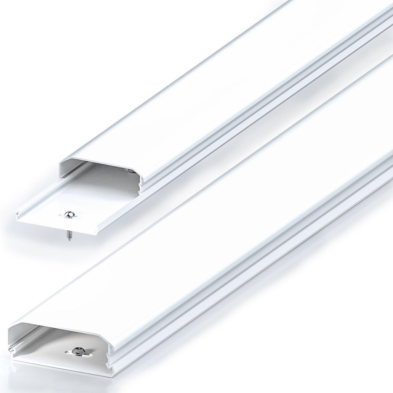 Canaleta universal deleyCON, para colocar cables y lí neas, PVC de primera, longitud de 50 cm, ancho de 6 cm, altura de 2 cm, de color negro para colocar cables y líneas MK-W-29