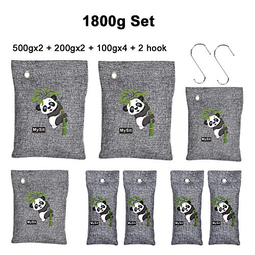 MySit Air Purifying Bags Sets, Bamboo Charcoal Bag Odor Remover for Auto,Shoe Cabinet Pet Car Fridgerator Toilet (1800g, 8 bags)