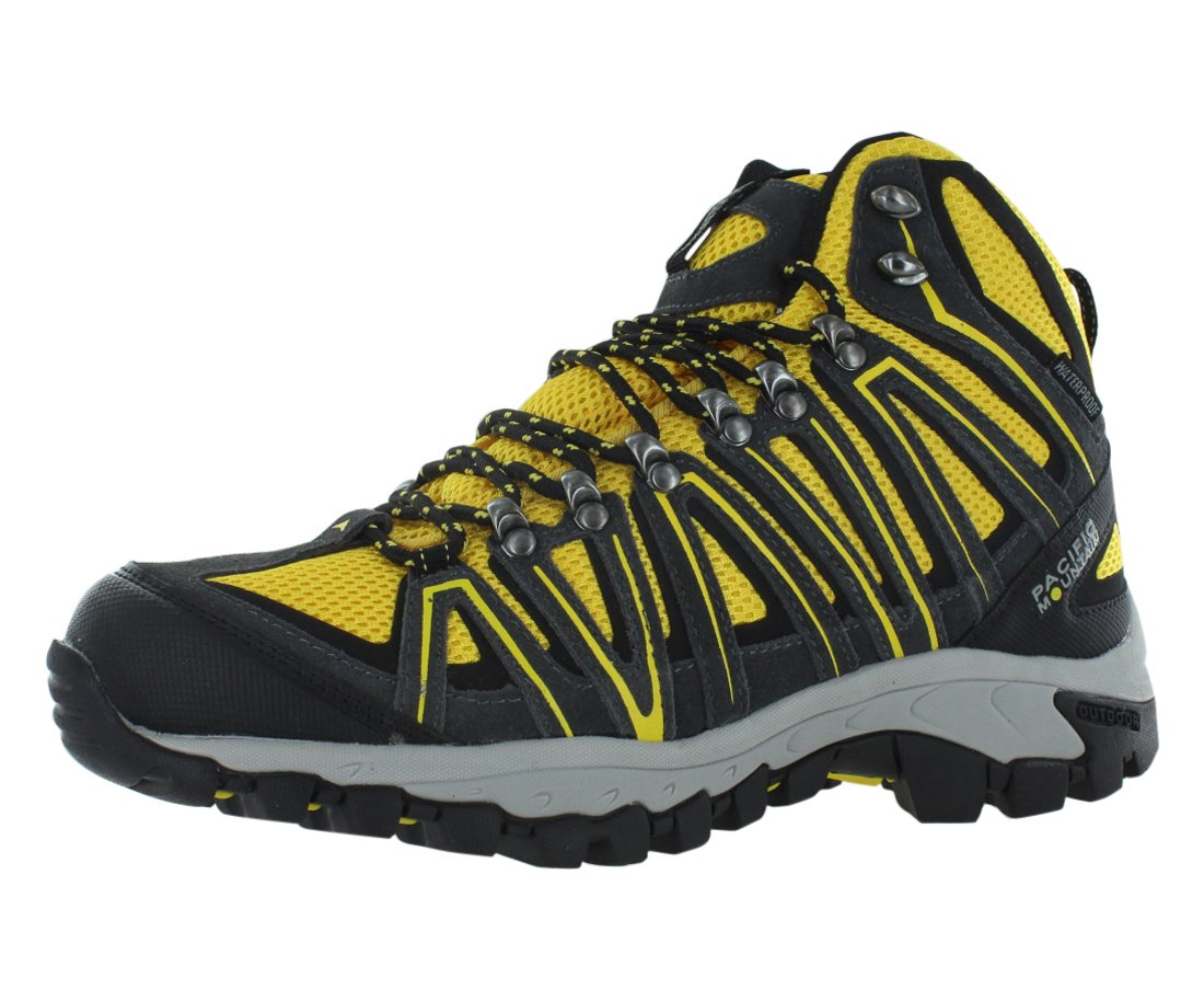 Pacific Mountain Crest Men's Waterproof Hiking Backpacking Mid-Cut Black/Grey/Yellow Boots Size 10.5 by Pacific Mountain