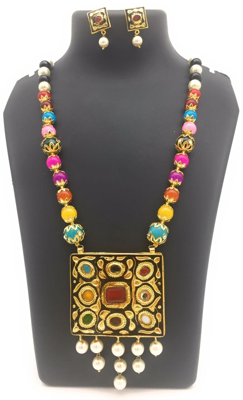 Satyam Kraft Women's Traditional Meenakari Multi Pearl Two Sided Wearable(Random Pendant),Reversible Necklace S Standard Multicolor