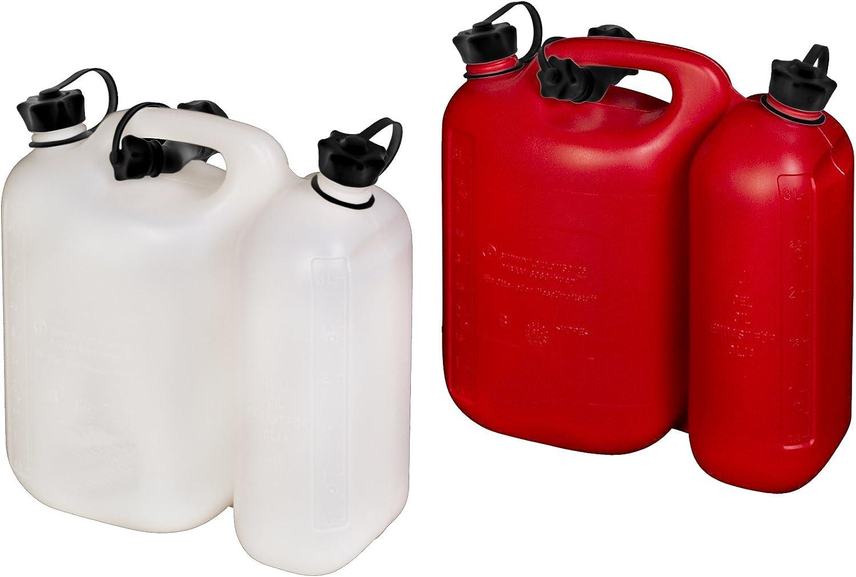 Made in Germany 3 Liter UN-Zulassung 6 h/ünersdorff PROFI Doppelkanister // Kombikanister f/ür Kraftstoff und /Öl mit Satteltasche und zwei Einf/üllsystemen