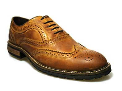 943995223fcd Red Tape Barrow Brown Black Leather Men's Formal Brogue Wing Tip Shoes (6  UK,