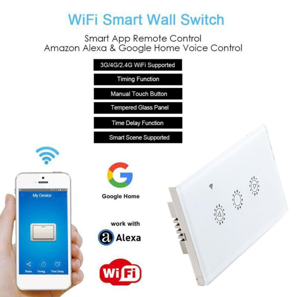 Switch Capacitive Hand Switch Wireless Remote Control Glass 3-gang Smart Home AU/US Crystal Waterproof Glass Touch Screen Light Switch&Mini Remote (White) by Liu Nian (Image #3)