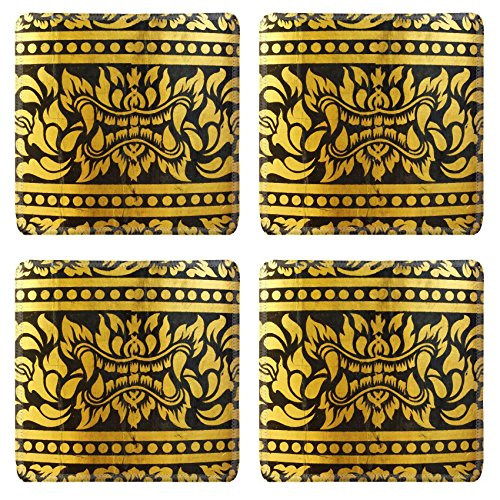 MSD Square Coasters Non-Slip Natural Rubber Desk Coasters design 28157760 detail of thai pattern that made by covered wood plate with gold leaf for (Thai Gold Plate)