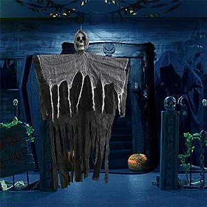IMOSA Halloween Hanging Ghost Decoration, Halloween Skeleton Ghosts, Halloween Ghost Hanging Decorations Scary Creepy Indoor/Outdoor Decor, Halloween Animated Screaming Decor Prop(Black)