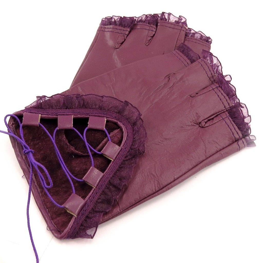 Les Tresors De Lily [K7615] - Mittens leather 'Scarlett' purple. 041403LES112013K761500