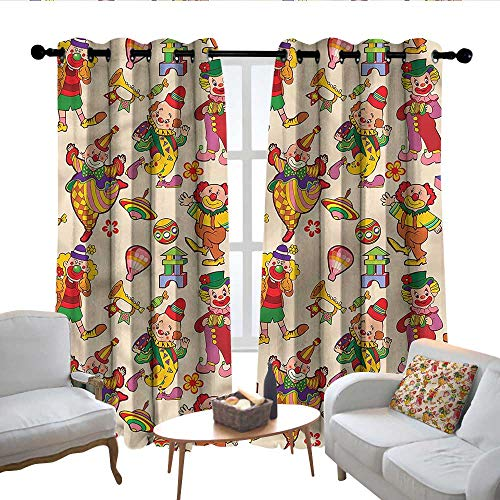 - Lewis Coleridge Curtains for Living Room Circus,Comedian Musical Clowns Kids,Complete Darkness, Noise Reducing Curtain 52