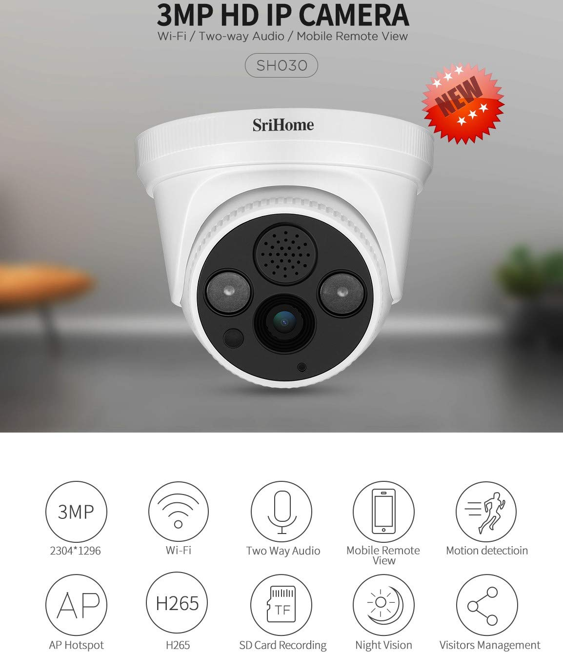 Sricam SriHome SH030 C/ámara WiFi IP inal/ámbrica infrarroja 3.0 megap/íxeles HD IR CUT ONVIF P2P compatible con SD Audio