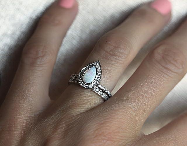 Amazon Com Opal Engagement Ring Opal Halo Diamond Ring Pear Halo